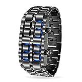 Eleganzza steel casual bracelet led wrist watch for women men unisex (black)