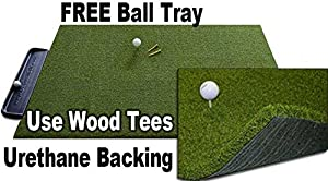 3 x 5 GORILLA Perfect ReACTION Golf Mats. Use Real Wood Tees. At Last a Golf Mat with No Shock, No Bounce No Rubber Tees Required. FREE Ball Tray. Gorilla Urethane Backed Golf Mats.