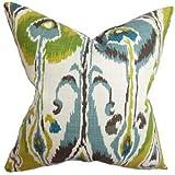 The Pillow Collection Ennis Ikat Pillow, Aqua Cocoa