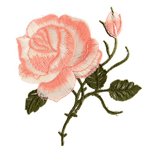 MEXUD Rose Flower Iron-On Embroidered Patch Applique Motif For Garment Decoration Craft (3#) (Cheap Iron On Patches compare prices)