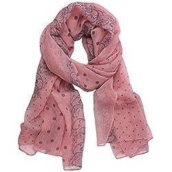 eFuture(TM) Pink Women Lady Stylish Fluid Quality Paris Yarn Polka Dot Lace Print Autumn Winter Long Shawl Scarf +eFuture's nice Keyring
