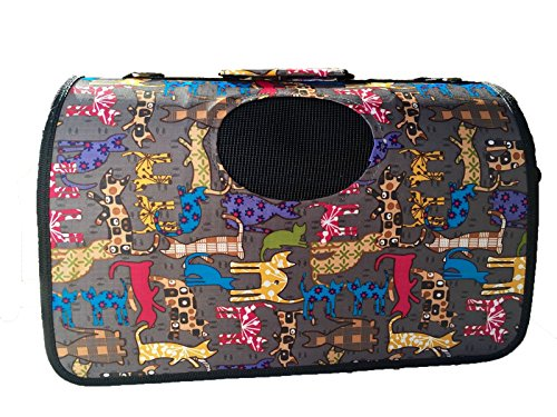 Reelok New Cat Pattern Colorful Puppy Dog Cat Tote Crate Carrier House Kennel Pet Travel Soft Portable Fold Handbag