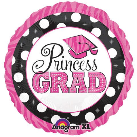 "Princess Grad Dots Graduation 18"" Foil Balloon Party Accessory"