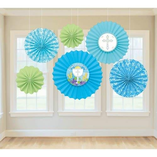 First Communion Paper Fan Decorations Blue Green Faith Parties Celebrations 6 Ct