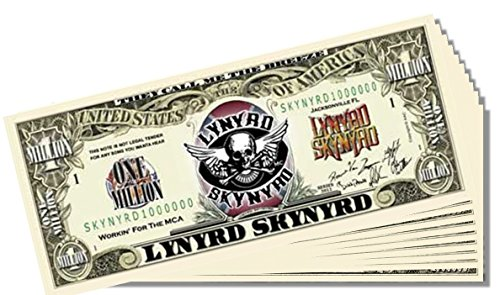 Lynyrd Skynyrd Novelty Million Dollar Bill - 10 Count with Bonus Clear Protector & Christopher Columbus Bill