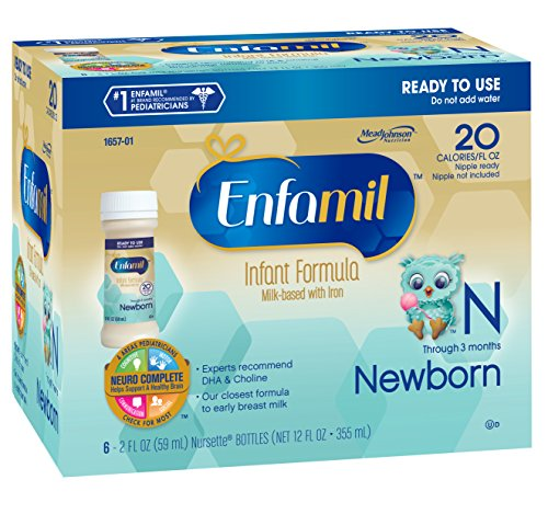 Enfamil  Newborn Baby Formula - 2 fl oz Plastic Nursette Bottles,6 Count (Pack of 4) (Baby Food Level 3 compare prices)