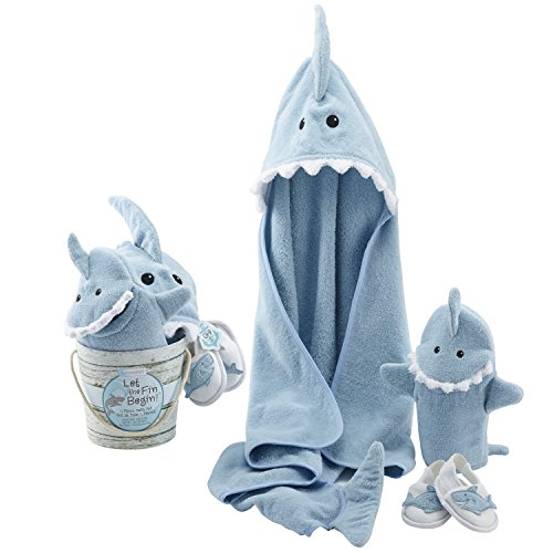 Baby Aspen Four-Piece Gift Set, Let the Fin Begin, Blue