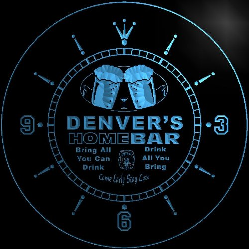 ncp0713-b DENVER'S Home Bar Beer 3D LED Neon Sign Wall Clock