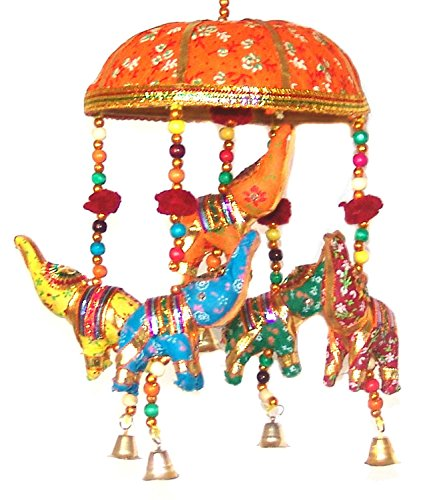 Indian Traditional Elephant Orange Umbrella Hanging Layer Of Five Elephant Door Hanging , Decorative Hanging