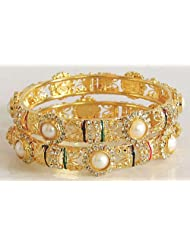 Forces Of Nature - Pair Of Pearl Studded And Meenakari Gold Plated Bangles - Stone And Metal