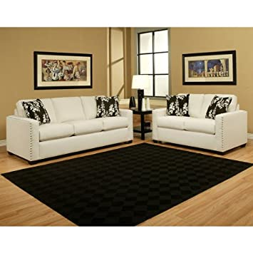 Pasadena Chenille Ivory Cream 2-Piece Sofa Set