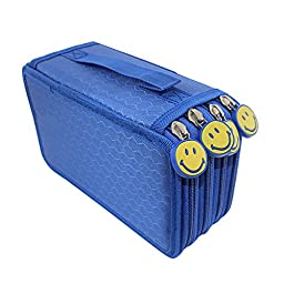 Huhuhero 72-slot Multi-layer Pencil Holder Organizer Pen Curtain Colored Pencils Pouch Stationary Box Portable Blue Case Bag With Zipper for Girls Adults for Art School Office Travel