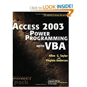Access 2003 Power Programming with VBA Allen G. Taylor and Virginia Andersen