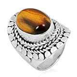 Artisan Crafted Sterling Silver Ring Studded with Yellow Tiger's Eye