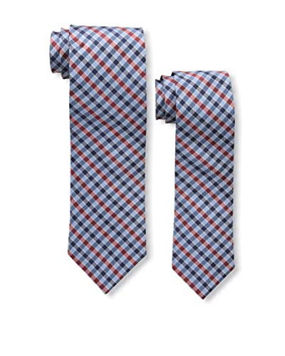 Bruno Piattelli Men's Daddy and Me Plaid Woven Silk Tie Set, Red/Blue
