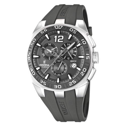Festina F16668/5 - Reloj cronógrafo de cuarzo para hombre con correa de caucho, color gris