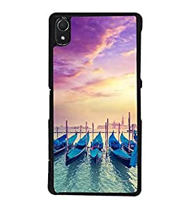 Fuson Premium 2D Back Case Cover Row of boats With yellow Background Degined For Sony Xperia Z3::Sony Xperia Z3 D6653 D6603
