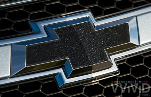 VVIVID Black Metallic Auto Emblem Vinyl Wrap Overlay Cut-Your-Own Decal for Chevy Bowtie Grill, Rear Logo DIY Easy to Install 11.80