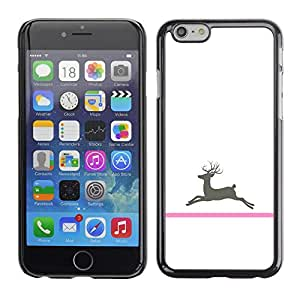 Omega Covers - Snap on Hard Back Case Cover Shell FOR Iphone 6/6S (4.7 INCH) - Cancer Deer Minimalist White