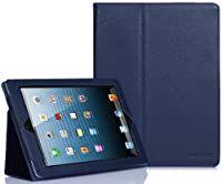 SUPCASE Apple iPad 4 & iPad 3 with Retina Display Slim Fit Folio Leather Case (Deep Blue) - Elastic Hand Strap, Support Auto Wake/Sleep, Compatible with iPad 2, Not Fit iPad 5 by SUPCASE