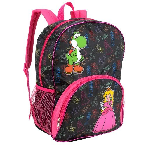 Nintendo Super Mario Princess Peach 16 inch Backpack - Black and Pink - 1