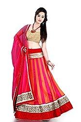 RedHot Fashion Women's Net Semi-stitched Red Designer Lehenga Choli And Dupatta Set (RHSR001)