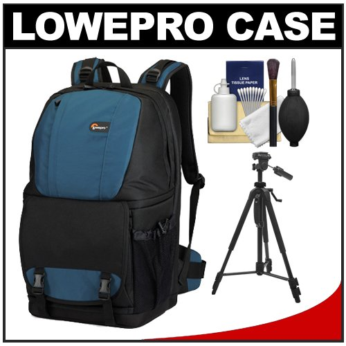 Lowepro Fastpack 350 Backpack Digital SLR Camera Case (Arctic Blue) + Tripod + Accessory Kit for Canon EOS 70D, 6D, 5D Mark III, Rebel T3, T5i, SL1, Nikon D3100, D3200, D5200, D7100, D600, D800, Sony Alpha A65, A77, A99