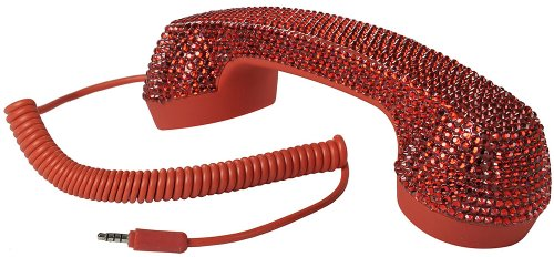 Retro Pop Handset For Iphone, Ipad, Ipod, And Android Phones - Faux Red Rhinestones