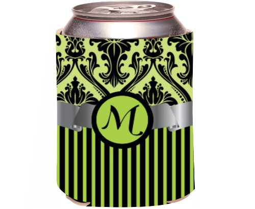 "Rikki Knighttm Letter ""M"" Initial Lime Green Damask And Stripes Monogrammed Design Drinks Cooler Neoprene Koozie front-953617"