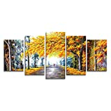 Wieco Art - Autumn Love Modern Giclee Canvas Prints Artwork 5 panels Abstract Landscape Oil Paintings Reproduction Pictures to Photo Printed on Canvas Wall Art for Office Decor 5cs/set P5RLA021 A
