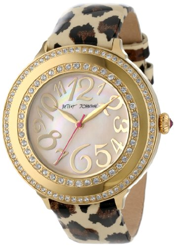 Betsey Johnson Women's BJ00213-01 Analog Leopard Printed Strap Watch