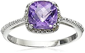 Amethyst and Diamond Accent Ring in Sterling Silver, Size 7