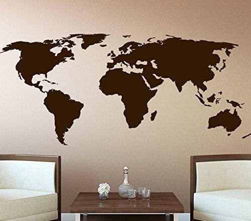 wandtattoo g nstig g082 weltkarte wandaufkleber wandsticker flur wohnzimmer braun bxh 132 x 58 cm. Black Bedroom Furniture Sets. Home Design Ideas