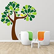 DeStudio Tree With Bird, Multi Color, Wall Stickers (Wall Covering Area : 120cm X 130cm)-11440