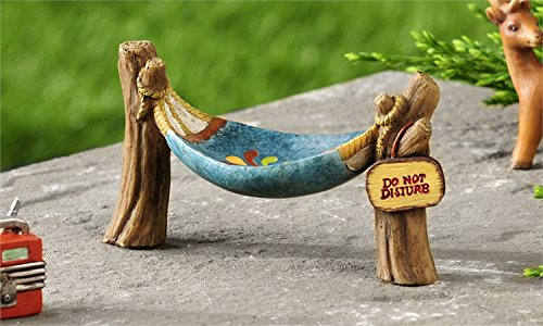 Miniature Fairy Garden Lakeside Hammock with Do Not Disturb Sign
