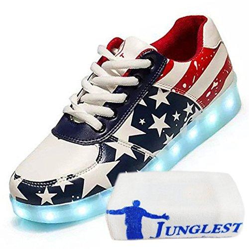 [Presente:piccolo asciugamano]c34 EU 44, Glow JUNGLEST® stelle Luce donne luminoso maniera night Scarpe Sneakers ricarica di hanno degli USB USA uomini bandiera delle Scarpe party Hip-