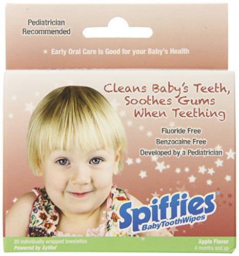 Spiffies Apple Flavored Baby Tooth Wipes, 20 Count - 1