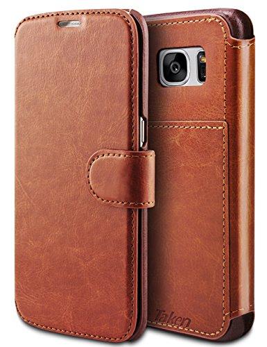 Taken S7 edge Wallet Case - Galaxy S7 edge Case Pu Leather - Card Slot - Ultra Slim for Samsung Galaxy S7 Edge (Dark Brown) (Leather Edge Case compare prices)