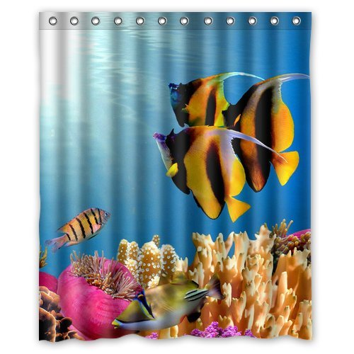 Custom Unique Design Funny Cute Sea Fish Waterproof Fabric Shower Curtain, 72 By 60-Inch front-394072