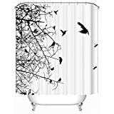 Uphome 72 X 72 Inch Custom Black and White Birds on the Tree Branches Kids Bathroom Accessories and Sets - White Background Polyester Fabric Bathroom Shower Curtains with Hooks