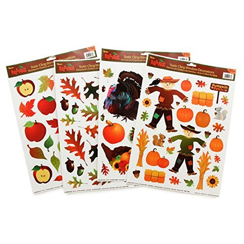 Static Cling Window Decorations - Fall Assortment - Pack of 4