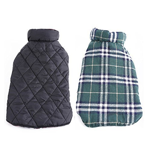 Bonawen Plaid Reversible Padded Jacket for Dog with Elastic Velcro ,for Extra Small up to Extra Large Pets (Green,L) (Jackets For Bulldogs compare prices)