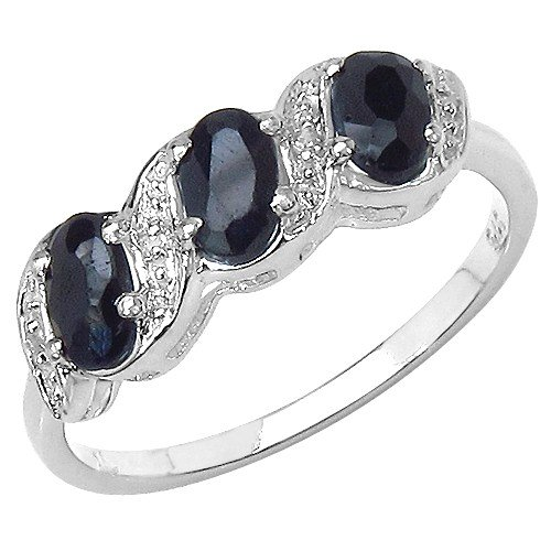 The Sapphire Ring Collection: Ladies Sterling Silver 3 Stone Sapphire & Diamond Engagement Ring (Size K)