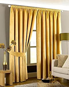 Luxurious Gold Heavyweight Velvet 66x90 Lined Pencil Pleat Curtain Drapes from Curtains
