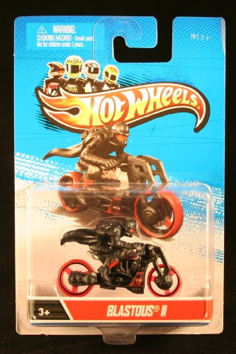 BLASTOUS II (Black & Red) * MOTORCYCLE & RIDER * Hot Wheels 1:64 Scale 2012 Die-Cast Vehicle