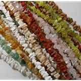 Over 1 Pound Mixed Gemstone Small to Medium Chip Beads Randum Mix 10 Strands 30 Inch or Longer