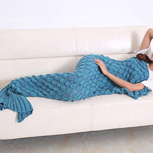 Isingo handgefertigt Strick Meerjungfrau Schwanz Decke,warm Sofa Wohnzimmer Decke für Erwachsene und Kinder(195*95cm)_Blau