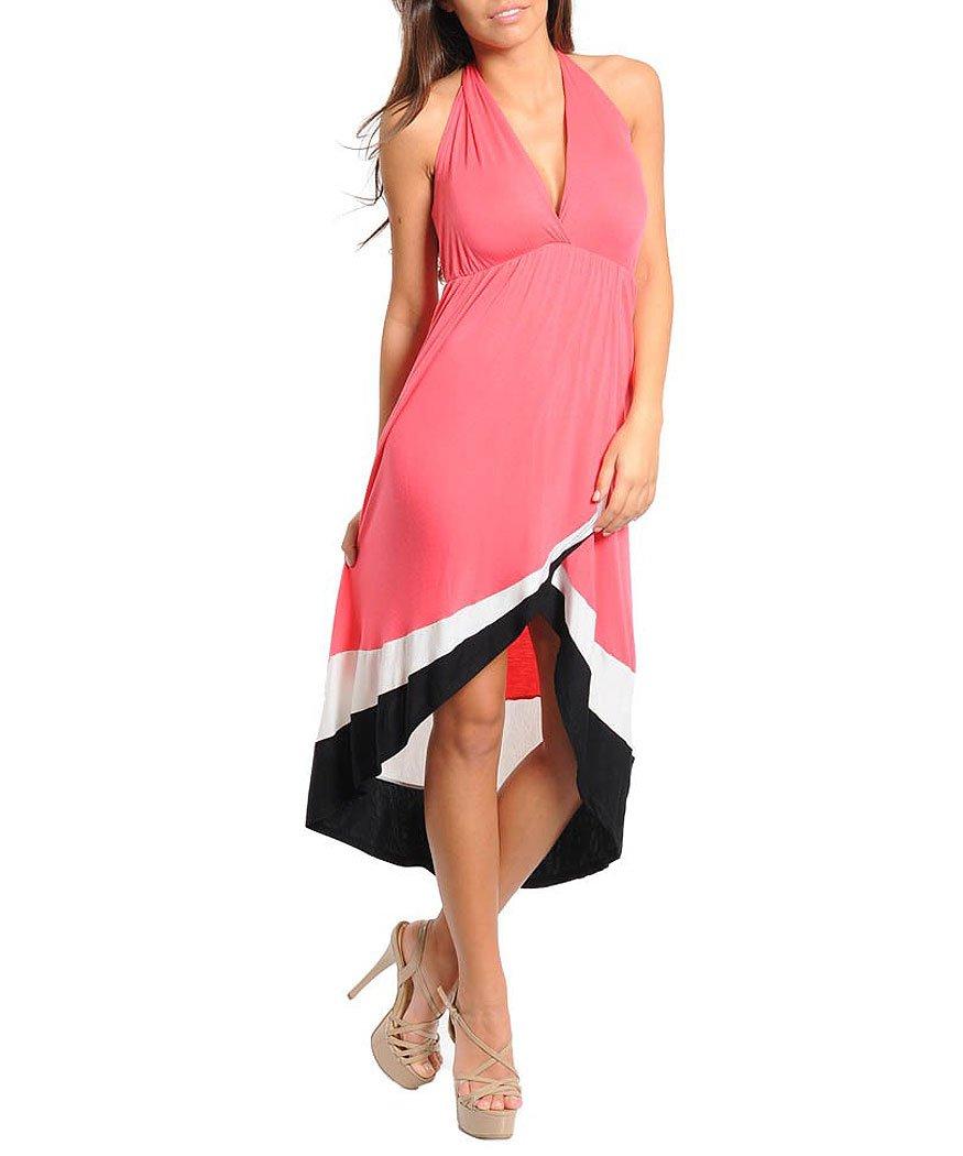 Carpe Diem Women's Colorblock Halter Dress: