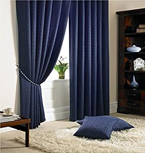 """Jacquard Check Navy Blue 66x72"""" 168x183cm Lined Pencil Pleat Curtains Drapes by Curtains"""