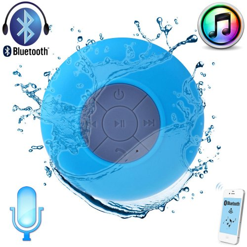 Digital Family Mini Ultra Portable Waterproof Bluetooth Wireless Stereo Speakers With Suction Cup-Red ,Green,Blue,Yellow (Blue)